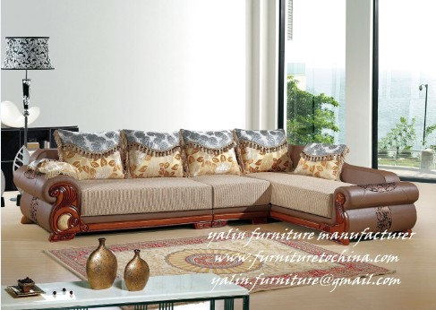 European Neoclassical Style Modern Corner Fabric Leather Sofa Couch Set Upholstery Sectional